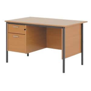 Classic 1200mm single pedestal clerical desk in beech effect viking direct ie - Viking office desk ...