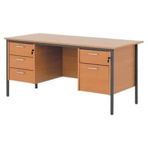 Classic 1500mm dual pedestal executive desk in beech effect viking direct ie - Viking office desk ...