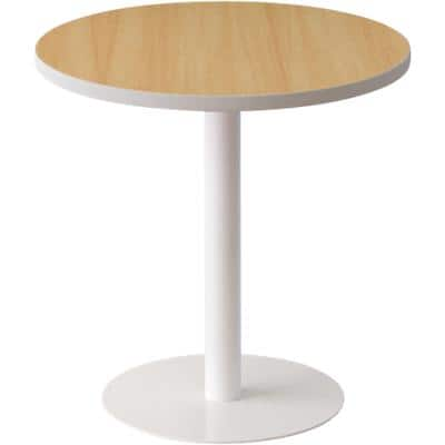 Paperflow Side Table with White & Beech Coloured Melamine, ABS & Steel Top and Base Panel Legs Easy Desk 600 x 600 x 600mm
