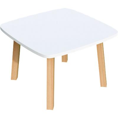 Paperflow Side Table with White & Beech Coloured Medium-Density Fibreboard & Lacquered Solid Wood Top and 4 Feet Legs Woody 600 x 600 x 400 mm
