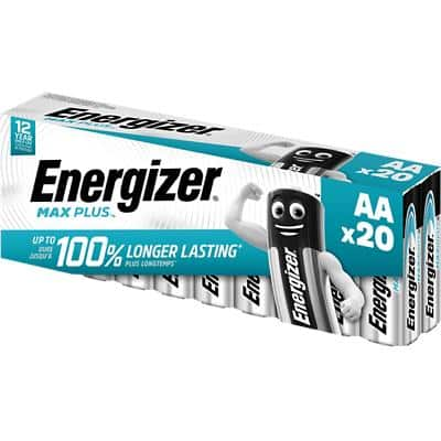 Energizer AA Alkaline Batteries Max Plus LR6 1.5V Pack of 20