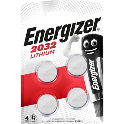 Energizer Button Cell Batteries CR2032 3V Lithium Pack of 4