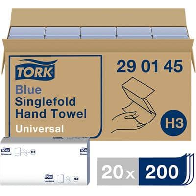 Tork Folded Hand Towels H3 Universal 1 Ply M-fold Blue 20 Pieces of 200 Sheets