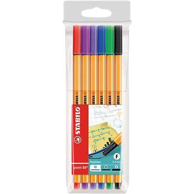 Stabilo Point 88 Fineliner Fine 0.4 mm Assorted Pack of 6