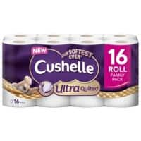 Cushelle Toilet Rolls Ulta Quilted 3 Ply 16 Rolls of 157 Sheets