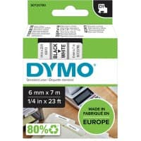 DYMO D1 43613 Label Tape, Authentic, Self Adhesive, Black Print on White 6 mm x 7 m