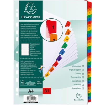 Exacompta Dividers A4 White Card Card 1 to 31
