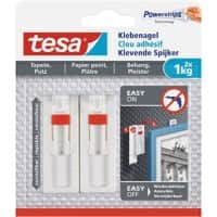 tesa Adhesive Nail Powerstrips White Pack of 2 holds up to 1 kg