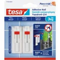 tesa Adhesive Nail Powerstrips White Pack of 2 holds up to 3 kg