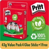 Pritt Glue Stick Transparent 43g Pack of 5