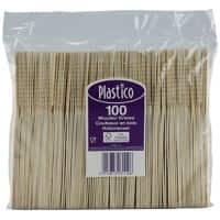 Plastico Disposable Knives Birchwood 2.1 x 0.2 x 16.5cm Brown Pack of 100