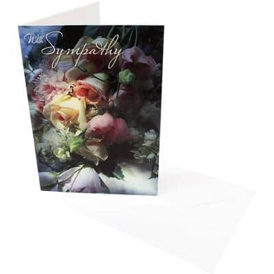 Greeting Card With Sympathy Roses 6 Pieces