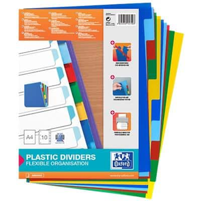 OXFORD Dividers 100205063 A4 Assorted 10 Part Not perforated Polypropylene Blank