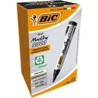 Bic Marking 2000 Permanent Markers - Bullet Tip, Black - Pack of 12