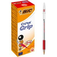 BIC Cristal Grip Ballpoint Pen Medium 0.4 mm Red Pack of 20
