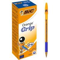 BIC Orange Grip Ballpoint Pen Fine 0.3 mm Blue Pack of 20