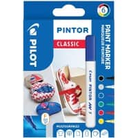 Pilot Pintor Classic Paint Marker Bullet 1 mm Assorted 6 Pieces