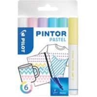 Pilot Pintor Pastel Paint Marker Bullet 1 mm  Assorted Pastel Colours 6 Pieces