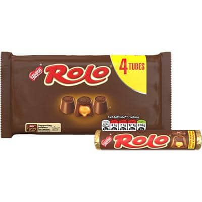 Nestlé Rolo Chocolate Caramel Multipack, No Artificial Colours, Flavours or Preservatives 41.6g Pack of 4