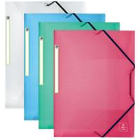 OXFORD Elasticated Three Flap Folder 2nd Life A4 Assorted Polypropylene Pack of 4