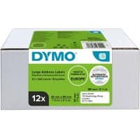 DYMO LW S0722400 Address Labels, Authentic, Self Adhesive, White 36 x 89 mm, 12 Rolls of 130 Labels