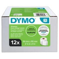 DYMO LW S0722430 Labels, Authentic, Self Adhesive, White 54 mm x 101 mm, 12 rolls of 220 Labels