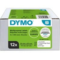 DYMO LW S0722540 Labels, Authentic, Self Adhesive, White 32 mm x 57 mm, 12 Rolls of 1000 Labels