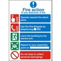 Fire Sign If You Discover A Fire Plastic 20 x 15 cm