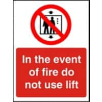 Fire Sign Do Not Use Lift Self Adhesive Acrylic 20 x 15 cm