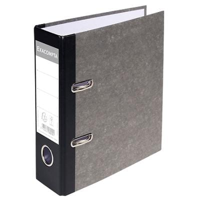 Exacompta Lever Arch File 53210E 70 mm Paper on Board 2 Rings A5 portrait Grey 10 Pieces