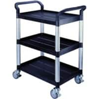 SLINGSBY Service Trolley with 3 Shelves 384014 Plastic Black 48 x 85 x 100 cm