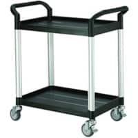 SLINGSBY Service Trolley with 2 Shelves 384016 Plastic Black 48 x 85 x 95 cm