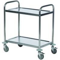 SLINGSBY Service Trolley with 2 Shelves 386089 Steel Silver 59 x 91 x 94 cm