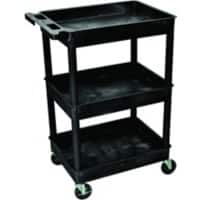 SLINGSBY Service Trolley with 3 Shelves 412039 Plastic Black 72 x 50 x 36 cm