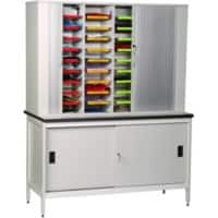 SLINGSBY Clearview mail sorting unit free standing with lockable tambour doors and bench