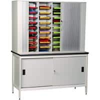 SLINGSBY Clearview Free Standing Mail Sorting Unit with Lockable Tambour Doors and Bench 374065 1048 x 1500 x 470 mm Grey