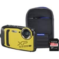 Fujifilm Digital Camera Finepix XP140 16.4 Megapixel Yellow + Bumper Case + 64GB SD Card