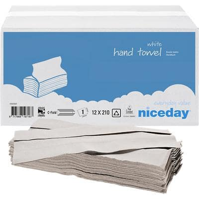 Niceday Hand Towels 1 Ply C-fold White 12 Pieces of 210 Sheets