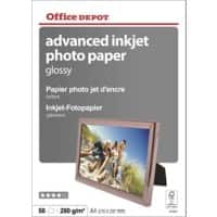 Office Depot Photo Paper Glossy Coated A4 280gsm White 50 Sheets