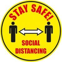 Seco Floor Sticker Stay safe, social distancing Yellow Anti-Slip Laminate 43 x 43 cm