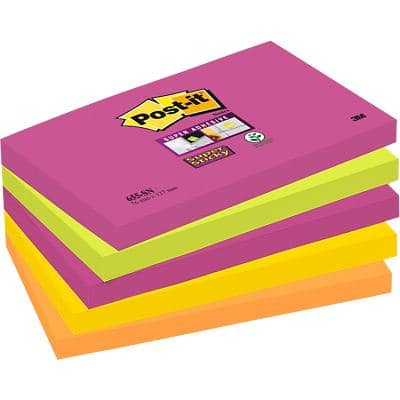 Post-it Super Sticky Notes 127 x 76 mm Cape Town Assorted Colours 5 Pads of 90 Sheets