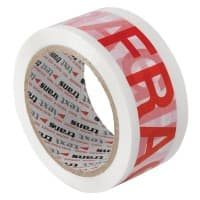 Flexocare Fragile Warning Tape Plastic 50 mm x 66 m White, Red 6 Rolls