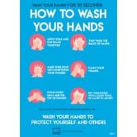 AVERY COVHTA4 COVID-19 How to Wash Hands A4 Labels 210 x 297 mm Blue 2 Labels