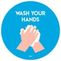 AVERY COVWH275 COVID-19 Wash Hands Ø275 mm Labels Blue 2 Labels