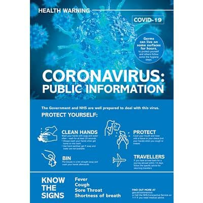 Health & Safety Poster Corona Virus: Public Health Plastic 19.7 x 42 cm