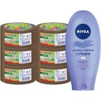 tesapack Brown Tape 50mm x 50m and Nivea Hand Creme Bundle