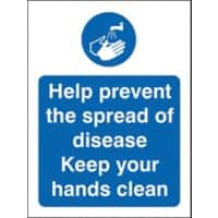 Health and Safety Sign Help prevent the spread of disease, keep your hands clean Plastic 20 x 15 cm