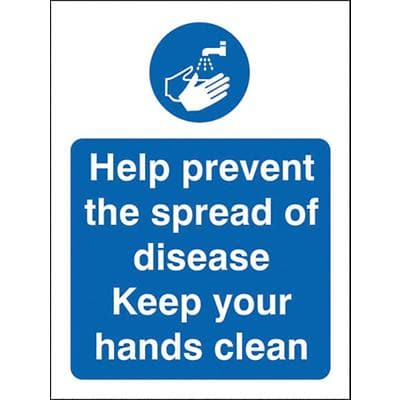 Health and Safety Sign Help prevent the spread of disease, keep your hands clean Plastic 30 x 20 cm