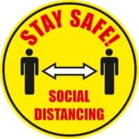 Stewart Superior Floor Sign Stay safe, social distancing Vinyl 30 x 30 cm Pack of 2