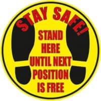 Stewart Superior Floor Sign Stay safe - stand here until the next position is free Vinyl 30 x 30 cm Pack of 2